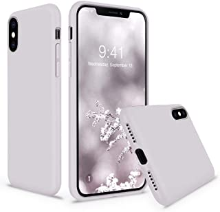 Cozosun iPhone X/Xs Case, Soft Silicone Gel Rubber Bumper Case Hard Shell Shockproof Full-Body Protective Case Cover (with Soft Microfiber Lining) Design for iPhone X/iPhone Xs, Lavender Gray