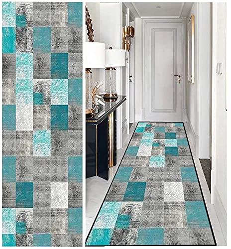 Teppich Läufer Flur Modernen, Teppich Läufer rutschfest Waschbar Anpassbar, Teppichläufer Polyester für Wohnzimmer/Flur/Büro/Schlafzimmer/Küche/Esszimmer
