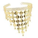 B Baosity Münzen Pailletten Haarbänder Stirnband Haarreife Kopfschmuck für Orientalischer Tanz - Gold