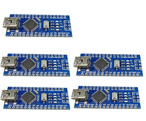 Aihasd 5PCS Mini USB Nano V3.0 ATmega328P 5V 16M Mikro Controller Board Modul CH340G for Arduino