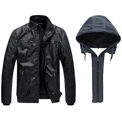 Wantdo Chaqueta de Piel Sintética para Hombre Ligera con Capucha Extraíble Anorak de Motocicleta con Varios Bolsillos Abrigo Casual de Textura Mate Vintage Negro Grueso L
