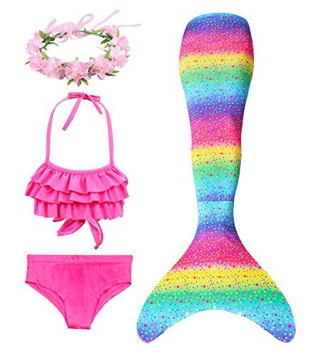 Hifunbay Kids Girls Mermaid Swimming Costume Included 3PCS Swimmable Bikini Swimsuit and Flower Garland Headband 1306 7Y DH29 B07