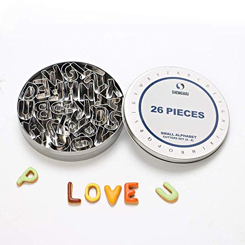 ShengHai 26-Piece Small Alphabet Cutters Set (A - Z), Stainless Steel Decorating Tools Letters Fondant Cutters