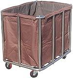 Carros de almacenamiento médico, carro de servicio para el hogar, cesta de lavandería de acero inoxidable con bolsas, carrito de limpieza de hotel con ruedas, camiones de mano extraíbles, color marrón