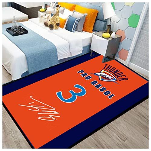 ZHMIAO Paul Area alfombras de Baloncesto Thunder # 3 Alfombras de Interior, con Firma Impresa Anti-patado Dormitorio Alfombra Hogar Hogar Decoración Alfombra Mat Mats Yoga orange-140x200cm
