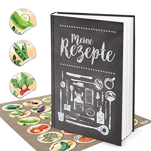 Logbuch-uitgeverij set receptenboek om zelf te schrijven, DIN A4, mijn recepten, zwart, wit, vintage-look + 24 stickers groenten, kleurrijk aquarel kookboek leeg voor eigen recepten, cadeau DIY