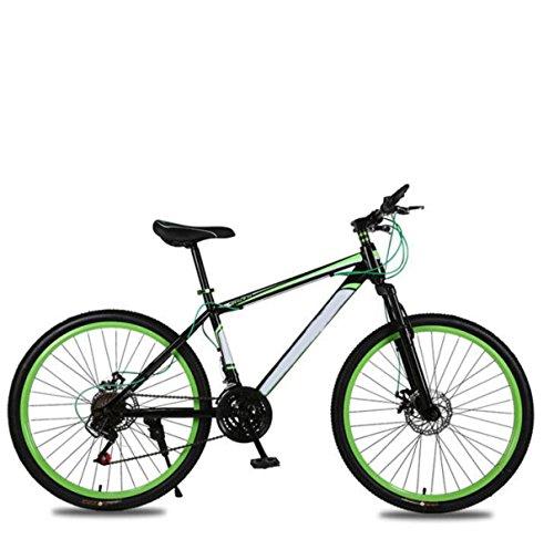 GHGJU Bicicleta De Montaña Adulto 26 Pulgadas 21 Velocidad De Choque Doble Disco Frenos Estudiante Bicicleta De Asalto Bicicleta Plegable Coche,Green-26in