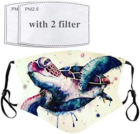Turtle Tortoise Galaxy Face Mask with Filter Pocket Washable Face Bandanas Balaclava Reusable product image
