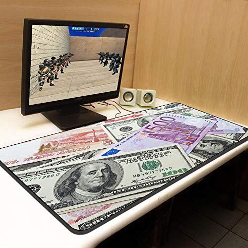 fangfaner Oversized computer muismat persoonlijkheid creatieve spel verdikking kantoor student tafel mat toetsenbord pad slip-Dollar Euro Edition_400x900mm_3mm