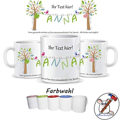 Tasse mit Name und individuellem Text/personalisierte Tasse mit Name/Danke/Muttertag/Geburtstag/Besserung/TEXT OBEN UNTEN UND NAME PERSONALISIERBAR
