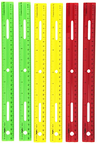 School Smart1473614 Lightweight Plastic Ruler 12 Inches Set of 6