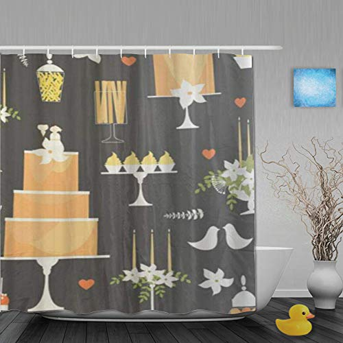 MTevocon Duschvorhang,Mode Hochzeitstorten und süße Tabelle Candy Buffet Dessert Bar Muster,Stoff Badezimmer Dekor Set mit Kunststoffhaken, enthalten - 180x210cm