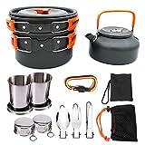 TANGIST 9 PCS Utensilios Portátiles de Cocina de Camping de Aleación de Aluminio Pot Pan Cocina Set Cocina Camping para Excursión Senderismo con Tazas de Acero Inoxidable Platos para Acampada