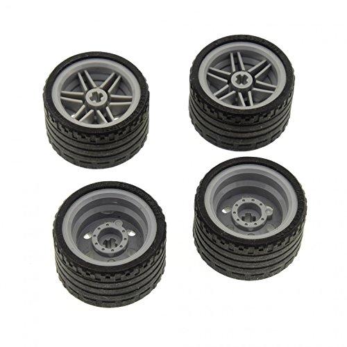 4 x Lego Technic Rad schwarz Räder 37 x 22 Felge neu-hell grau 30.4mm D. x 20mm (56145 / 55978)