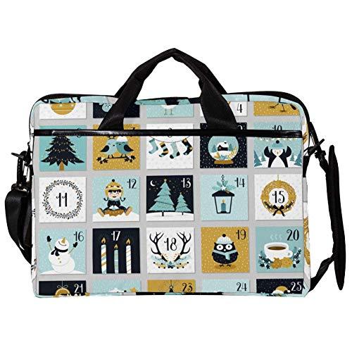 EZIOLY Adventskalender 14 Zoll 38,1 cm Laptop Schultertasche Messenger Bag Crossbody Aktentasche Messenger Sleeve für 14 Zoll bis 15,4 Zoll Laptop