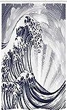 ABAKUHAUS Hokusai Schmaler Duschvorhang, Oriental Japanese Waves, Badezimmer Deko Set aus Stoff mit Haken, 120 x 180 cm, Indigo Weiß