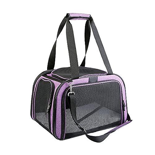 MH-RING Bolsa de Viaje para Gatos, Bolsa de Transporte para Perros y Gatos, con Abertura Superior Bolsa de Malla Transpirable Caja de Transporte para Asiento de Coche para Mascotas (Color : Purple)