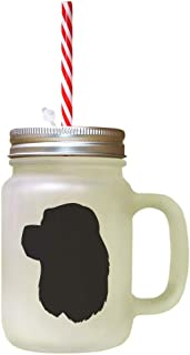 Black American Cocker Spaniel Silhouette Frosted Glass Mason Jar With Straw