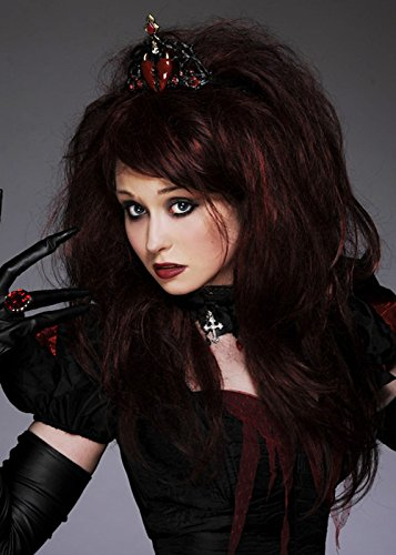 Deluxe gothique Queen of Hearts perruque avec diadème