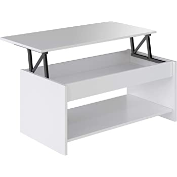 Marca Amazon - Movian Aggol Modern - Mesa de centro elevable con balda inferior, 50 x 100 x 44 cm (blanco): Amazon.es: Hogar