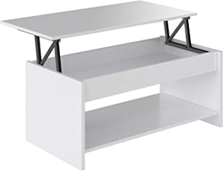Marca Amazon - Movian Aggol Modern - Mesa de centro elevable con balda inferior 50 x 100 x 44 cm (blanco)