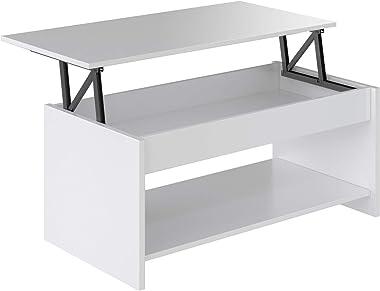 Marque Amazon -Movian - Table basse avec plateau relevable et petite étagère Aggol Modern, 50 x 100 x 44, Blanc