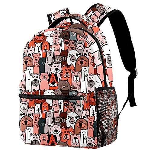 Zaino per ragazze, bambini, ragazzi, scuola, scuola materna, per studenti elementari, bambini in età prescolare con borsa per il pranzo per cani e gatti