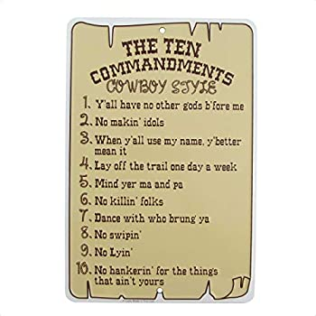 Super durable Metal Sign Ten Commandments Cowboy Style tin Signs Vintage Wall Decoration bar Cafe Kitchen Garage Home Art Decoration Funny Religious Sign 8x12 inch