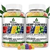 (2 Pack)Hemp Gummies 350,000mg - 160ct - Reduce Stress Anxiety, Sleep Better & Immunity Boost - 100% Organic Natural Hemp Extract ,Vegan, Non-GMO