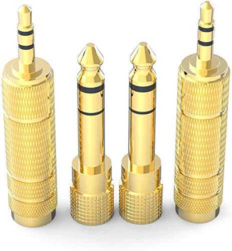 DIGITNOW! 6.35mm Klinkenstecker auf 3.5mm Klinken Buchse und 3.5 mm Klinkenstecker auf 6.35 mm Klinken Buchse Aux Audio Adapter mit Vergoldeter Kontakte für Kopfhörer /Lautsprecher /Gitarre /Klavier