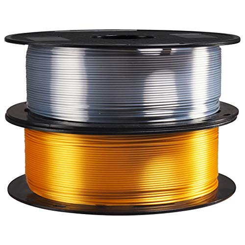1.75mm Silk Metallic Shiny Gold Silver PLA 3D Printer Filament 2 in 1 Bundle, 3D Printing Material 1Kg Each Spool Total 2Kg Pack in One Box, with Extra Gift 10pcs 3D Print Cleaning Tool by TTYT3D