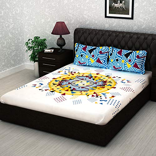 Story@Home Metro Mix N Match 186 TC Twill Cotton Double Bed Bedsheet with 2 Pillow Cover, White