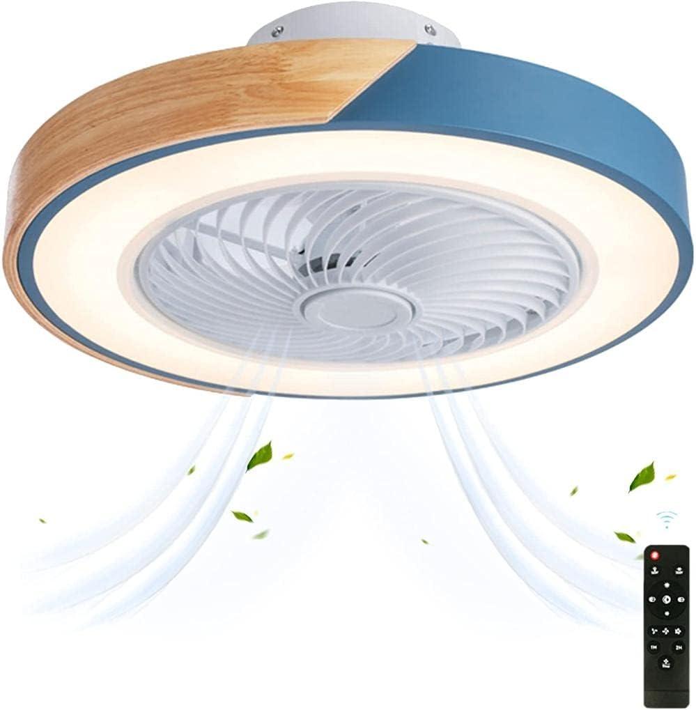 XIAOANZI Madera Ventilador de Techo con Luz Regulable con control remoto Lámpara Ventilador Techo 3 colores Viento ajustable Moderno Luces de Techo para Dormitorio Sala de Niños Sala de Estar-Azul