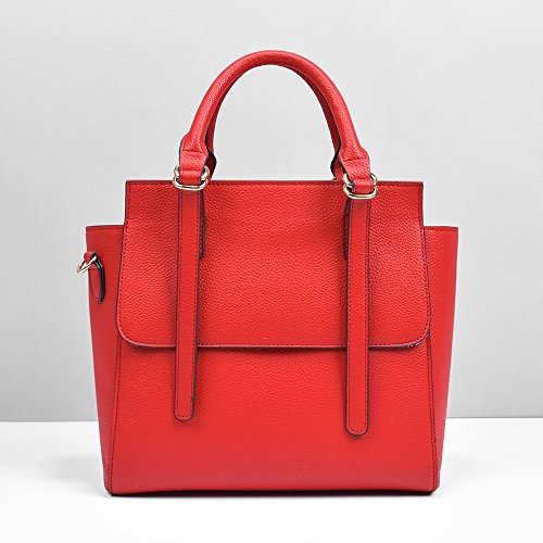 Sac Fourre-Tout En Cuir Synthétique Litchi Pour Femme Élégant Simplicité Pour La Datation De Travail Sac À Bandoulière Shopping,Red