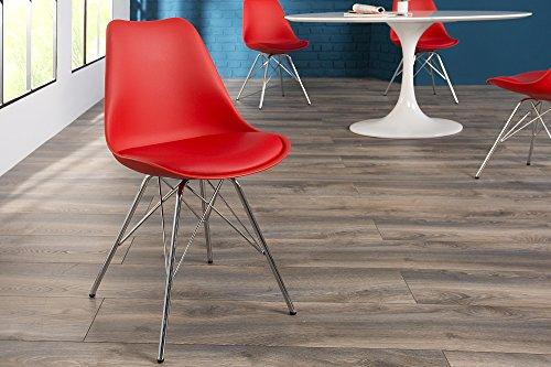 Preisvergleich Produktbild DuNord Design Stuhl NEW STOCKHOLM rot Kunstleder Retro Esszimmerstuhl Küchenstuhl Metall