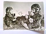 AK 2 Affen als Teddybären, mit Kamm und Spiegel, DDR Karte.