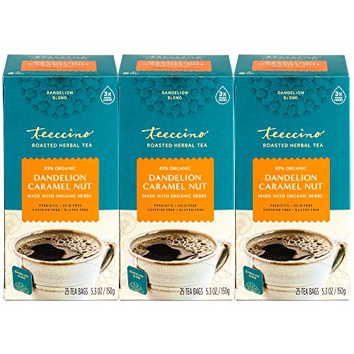 Teeccino Dandelion Tea – Caramel Nut – Rich & Roasted Herbal Tea That's Caffeine Free & Prebiotic with Detoxifying Dandelion Root, 25 Tea Bags (Pack of 3)