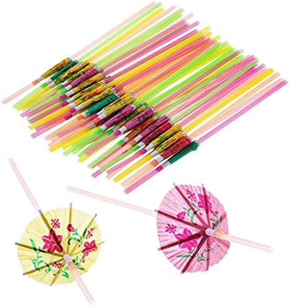 100 Pcs Disposable Umbrella Shaped Straws Flexible Bendable Table Decor Straws for Tropical product image