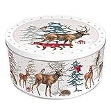 Grätz Verlag Keksdose/Plätzchendose Retro Dose für Kekse,, rund, rot, aus Blech, ca. 10,5 cm hoch Weihnachtswald