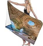Toallas de playa para adultos, Algarve Cuevas Portugal Pequeñas Playas Grandes Cuevas de Baño Grande Toalla de Playa Ligera Perfecta para Familiar Hotel Viajes Natación Fitness 32 x 52 pulgadas
