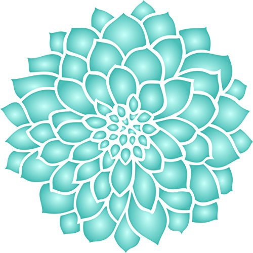 Zinnia Schablone – 16,5 x 16,5 cm (S) – Wiederverwendbare große Dahlie Blumen Muster Pflanze Wand Schablone Schablone Schablone