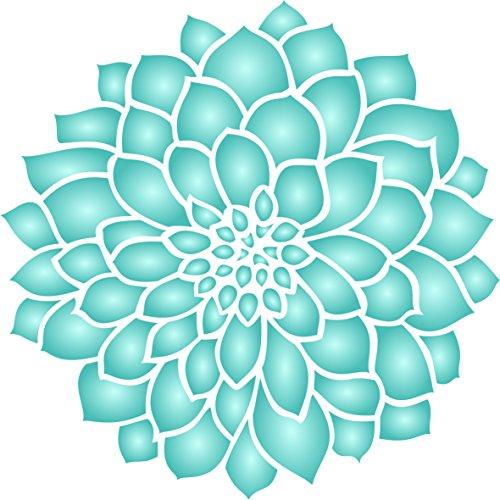 Zinnia Schablone, wiederverwendbar, große Dahlia Blume Muster Pflanze Wand–Vorlage, auf Papier Projekte Scrapbook Tagebuch Wände Böden Stoff Möbel Glas Holz etc. XS
