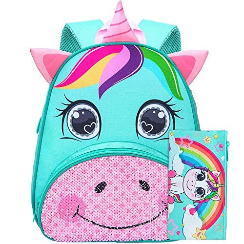 Toddler Backpack, 12' Unicorn Sequin Preschool Bag for Girls
