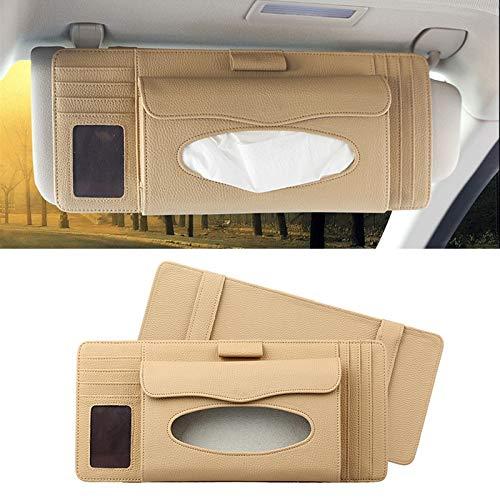 TKTK Auto Accessoires DERANFU 3 In 1 Lichee Textuur Multifunctionele Auto Hang Type Lederen Handdoek Doos met Kaartsleuf & CD Slot (Zwart) Beige
