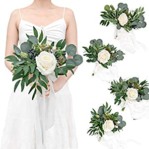 Ling's moment Greenery&White 7 Inch Artificial Flowers Wedding Bouquet for Bridesmaids,Set of 4,Bouquets for Bride,Wedding Arch Flowers,Bridal Shower,Table Centerpiece, Wedding Ceremony Anniversary