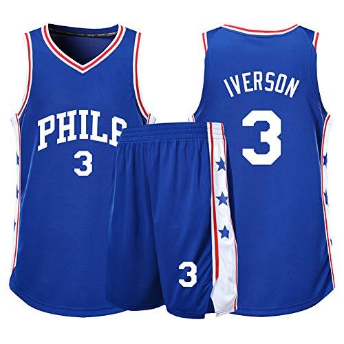 XZM Kinder-Basketball-Uniformen, Allen Iverson Nr. 3 Philadelphia 76ers Fans unterstützen Basketball-Kleidung, Jungen Basketball-Trikot Fans neutrales Basketballtraining-Blue-M