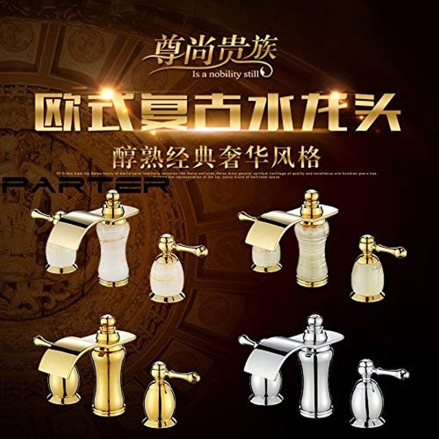 Oudan Basin Mixer Tap Bathroom Sink Faucet The solid brass double the three hole split insert drill basin faucet antique table basin ceramic titanium gold, jade, chrome plated (color   9)