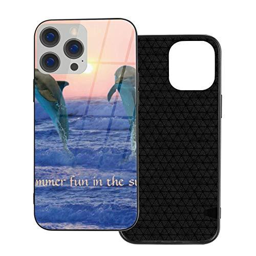 MEUYGOFLZ Compatible con iPhone 12 Pro Max, carcasa de cuerpo completo, carcasa de cristal TPU suave para iPhone 12 Pro Max 6.7 pulgadas, delfín de cuello de botella al amanecer.