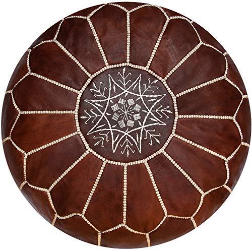 Poufs&Pillows Premium Echt Leder Pouf - Handgefertigt - Gefüllt geliefert - Ottoman, Sitzsack, Fußhocker, Polsterhocker (Cognac-Honig)
