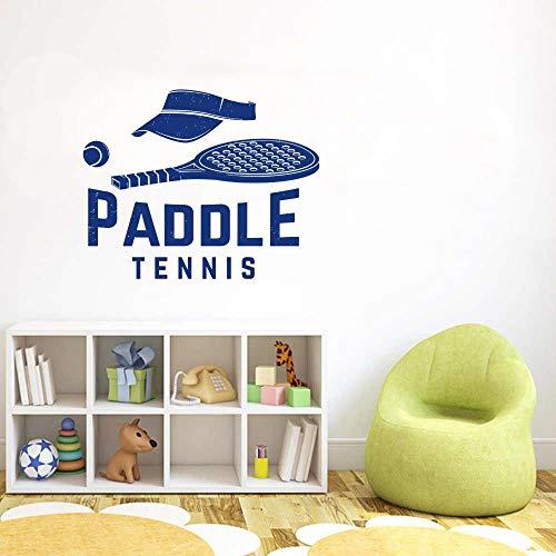 JXND Padel Tenis Visera y Raqueta Pegatinas de Pared Arte calcomanías de Tenis decoración de la Sala 74x59cm